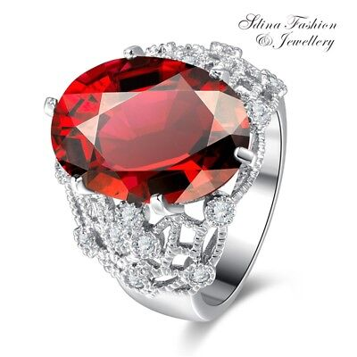18K White Gold GF Cubic Zirconia Oval Cut Hollow-out Vintage Ruby Cocktail Ring
