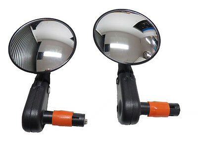 2 x 3D Bar End Mirror for Bicycles with Round Convex Mirror MTB, Road Bike