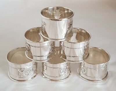 Six sterling silver napkin Rings .Birmingham 1974/ 75 .By Henry Griffiths & Sons