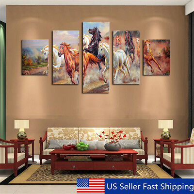 5Pcs Horses Wall Painting Canvas Living Room Art Print Picture Decor Unframed US