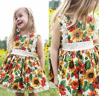 Toddler Kids Girls Sunflower Summer Floral Lace Casual Dress Clothes Size 1-6Y