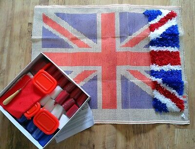 Anchor Latch hook rug instruction & chart Union jack new & unfinished project