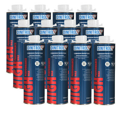 12 x DINITROL HIGH PERFORMANCE UNDERBODY WAX CLEAR 1 LITRE RUST PROOFING