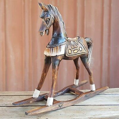 Wooden Hand Carved Rocking Horse Ornament