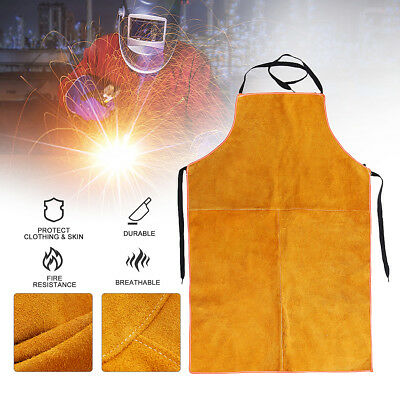 Welders Welding Spatter Full Cowhide Leather Welding Bib Blacksmith Apron