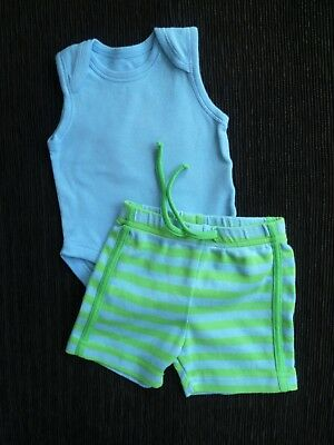 Baby clothes BOY 0-3m outfit soft cotton blue/green shorts,sleeveless bodysuit