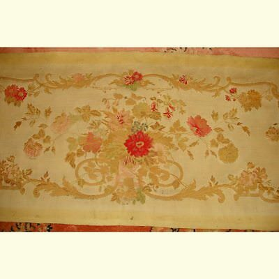 Large Panel Antique French Silk Brocade Seat, Bench Cover