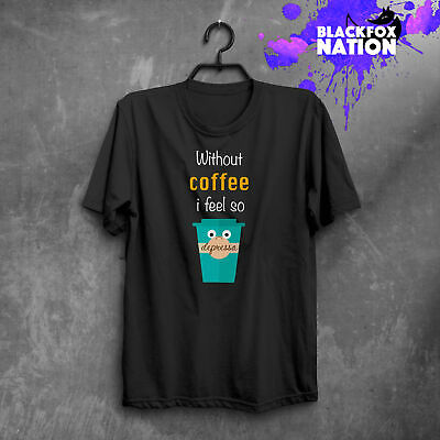 Coffee Lover T-Shirt Funny Print Short Sleeve Unique Hand Made Tee Cup Coffee