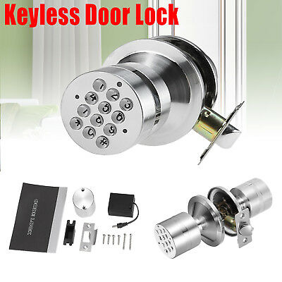 Smart Digital Electronic Code Keyless Door Knob Locks Programmable Entry Keypad