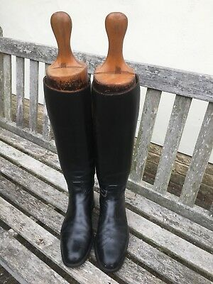 Long leather riding boots vintage size 9 , 3 part wooden trees maker GTHawkins