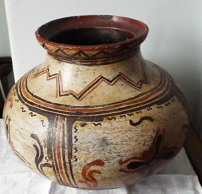 Antique Mexican Aztec Pre Columbian Pottery  large  painted  pot  damaged