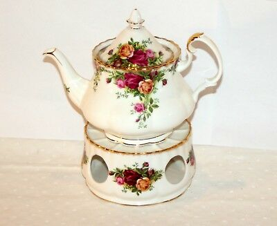 Royal Albert * Tee-Kanne & Stövchen * Old Country Roses & Gold China Bone 12536