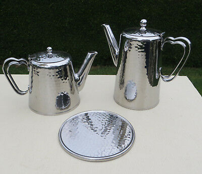 Olde Hall (Old hall) Warwick Hammered 1.5 Pint Teapot, 2 Pint Coffee Pot + Stand