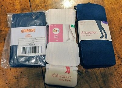 NWT 4 pair Girls Tights white & navy 7-10 Gymboree Circo Xhilaration