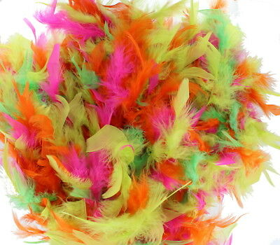 Fancy Dress Neon Pink Green Yellow and Orange Mixed Colour Feather Boa