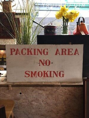 Old Retro Hand Painted Sign No Smoking Industrial Signage