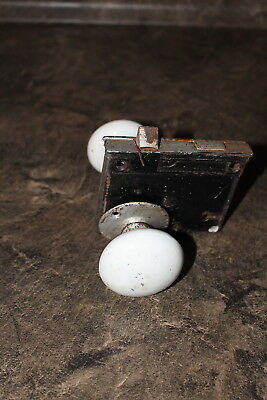 Antique White Porcelain Door Knobs with Metal Insert Two Handles no key