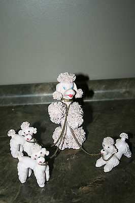 Vintage Spaghetti Type Poodle Porcelain / China Dog Figurine 3 Puppies w/ Chains