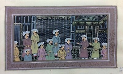 "7"" x 11"" Antique Mughal court Scene Matted Painting Old Leaf Paper 498"
