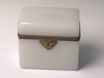 Antique Opaline Glass Locking & Mounted Hinged Casket, Box