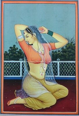 "11""x 7"" Antique Rajasthani Lady Scene Matted Painting Old Urdu Leaf Paper 509"