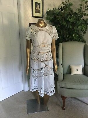 Lim's Vintage Cotton Battenberg Lace and Hand Crochet White Dress Gorgeous Small
