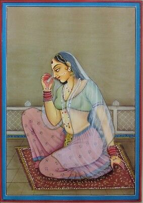 "11""x 7"" Vintage Mughal Queen Scene Matted Painting Old Urdu Leaf Paper 510"