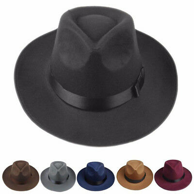 Men Women Hard Felt Hat Wide Brim Fedora Panama Hat Gangster Vintage Cap AU P
