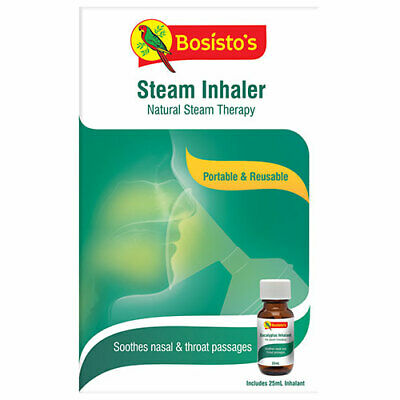 NEW Bosisto's Cold & Flu Inhalant Euco Steam Inhaler with Euco Steam Inhalant
