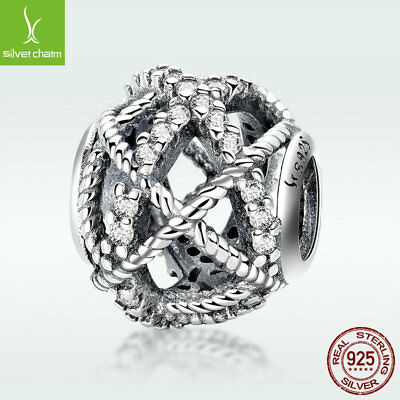 Latest S925 Sterling Silver Hollow Bead Twine Charm With CZ For Bracelet Jewelry