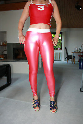 TRIALLAB TRANSPARENT LucidRubber CAMELTOE Leggings HL2AX - Rot/Weiss - M