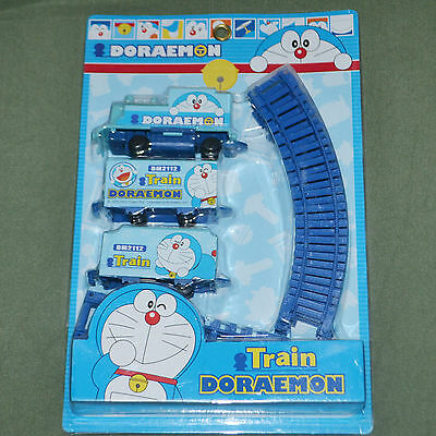 Doraemon electric train battery powered with rail doll toy child's gift