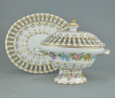 Porcelain Potpourri on a dish in style of Sèvres Hand painted floral decoration