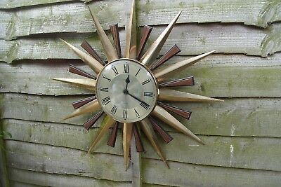 Vintage Retro Iconic Metamec Sunburst 1960 1970 Wall Clock Working