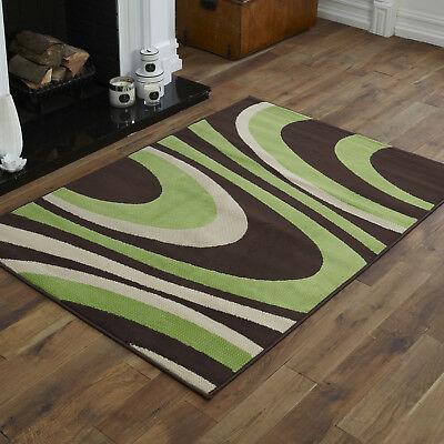 Modern Wave Design Chocolate Brown Green Living Room Alpha Rugs Clearance Sale