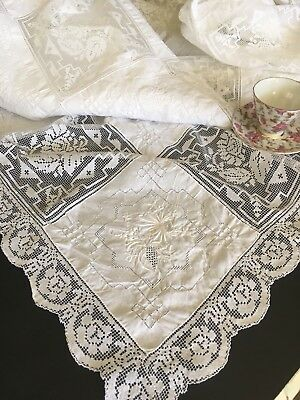 Antique Vintage White Cotton Embroidered & Figural Lace Tablecloth