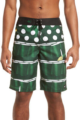 6e63665da4 O'Neill Men's St. Paddys Green Irish Beer Pong Board Shorts Surf 31/