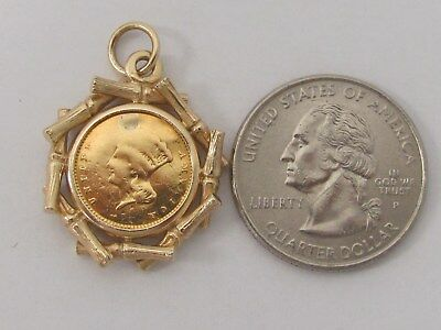 1857 US United States $1 Dollar Gold Coin Pendant 5.6g Solid