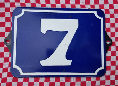 Antique French Industrial Traditional Blue & White Enamel Door / House Number 7