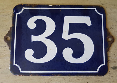 Antique French Industrial Traditional Blue & White Enamel Door / House Number 35