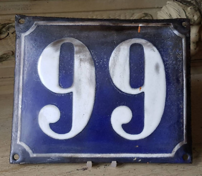 Antique French Industrial Traditional Blue & White Enamel Door / House Number 99