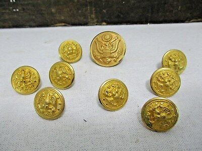 Vintage Waterbury Buttons Military 9 Brass Eagle Anchor Metal Marine Navy Gold