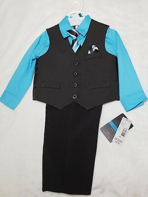 Dockers 4 piece infant suit size 18 months. Teal with black pin stripped vest.