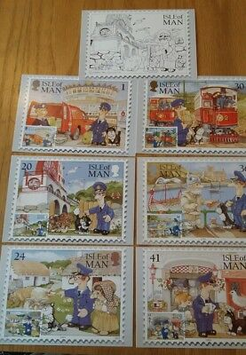 Postman Pat. Isle of Man. First Day Issue. 7 Stamp Postcards. 1994 (A)