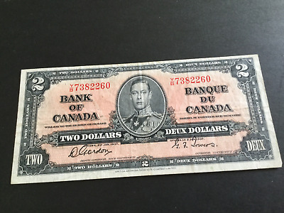 2 Dollar Canadian Banknote Gordon & Towers 1937 series