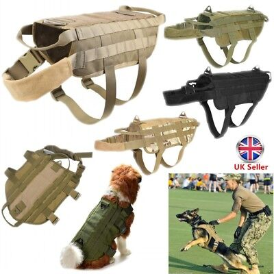 Military Tactical Pet Dog Nylon Vest Army Canine Harness Clothe Jacket Coat S-XL