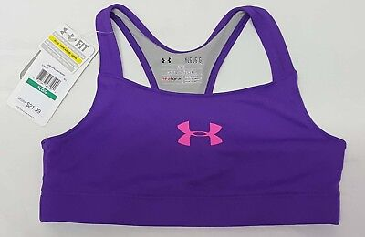 NEW Under Armour Girls' Large Purple HeatGear Fitted Athletic Sports Bra