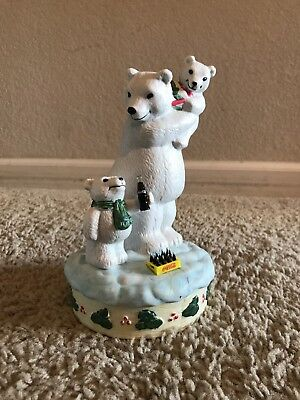 Retired Coca-Cola Christmas Polar Bear, Porcelain Music Box, Issued 1996