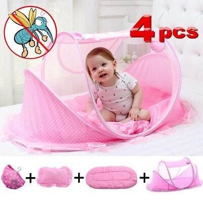 Baby Mosquito Net Bed Net With Sleeping Mattress Pillow Tent Foldable Portable