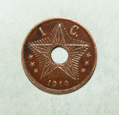 Belgian Congo 1 Centime 1910 Extremely Fine Copper Coin